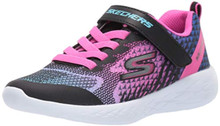 Skechers Kids Girls' GO Run 600-RADIANT Runner Sneaker, Black/Multi, 4.5 Medium US Big Kid