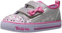 Skechers Kids Girls' Shuffles-Itsy Bitsy Sneaker,SILVER/HOT PINK,10 M US Toddler