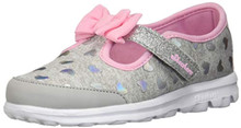 Skechers Go Walk-Bitty Hearts Girls' Infant-Toddler Slip On 9 M US Toddler Grey-Pink
