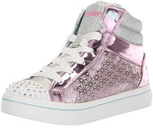 Skechers Kids Girls' TWI-Lites-Glitter-UPS Sneaker, Pink/Silver, 12.5 Medium US Little Kid