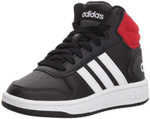 adidas Baby Hoops Mid 2.0 Basketball Shoe, Black/White/red, 3 Infant