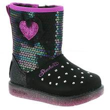 Skechers Glitzy Glam-Shimmer Hearts Girls' Infant-Toddler Boot 7 M US Toddler Black-Multi