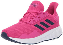 adidas Unisex Duramo 9 Running shoe, real magenta/dark blue/white, 4.5 M US Big Kid