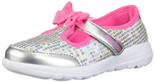 Skechers Kids Girls' GO Walk Joy-Sugary Sweet Sneaker, Silver/Multi, 5 Medium US Toddler