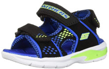 Skechers Kids Baby Boy's E-II Sandal Lights 90558N (Toddler) Blue/Black/Lime 5 M US Toddler