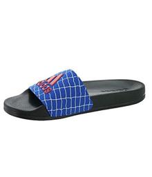 adidas Adilette Shower Slide Sandal, Black/Active Red/Blue, 4 M US Big Kid
