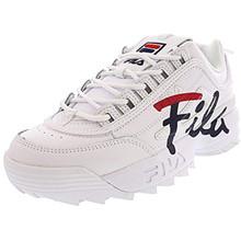 Fila Women's Disruptor Ii Script White/Fila Red/Fila Navy Ankle-High Leather Sneaker - 5.5M