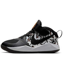 Nike Little Boys Team Hustle D 9 Graphic Stay-Put Closure Basketball Sneakers (12, Black/Bright Ceramic-META)