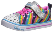 Skechers Sparkle Lite Magical Rainbows Girls' Toddler-Youth Oxford 4 M US Big Kid Navy-Multi