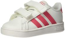 adidas Baby Grand Court K Sneaker, White/Real Pink/White, 6K M US Toddler