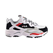 Fila Mens RAY Tracer Sneaker,White/Black/RED,7.5