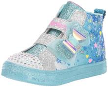 Skechers Kids Girls' Shuffle LITE - LET IT Sparkle Sneaker, Blue/Multi, 8 Medium US Toddler