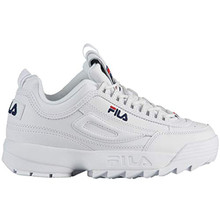 Fila Boy's Disruptor II Sneaker (4 M US, White/Navy/Red)