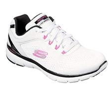 Skechers Women's, Flex Appeal 3.0 - Steady Walking Shoe White Black Pink 10 M
