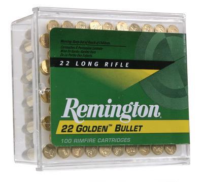 Remington Golden Bullet 22 LR - 40 Grain Plated Lead Round Nose - 100 Rounds - 047700000503