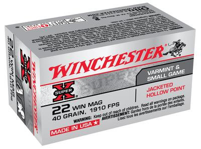 Winchester Super-X 22 WMR - 40 Grain JHP - 50 Rounds - 020892100718