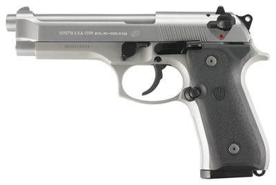 Beretta Model 92FS 9mm Double Single Action 49 Inch Barrel Stainless Finish Plastic Grips Three