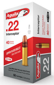 Aguila Interceptor - 22 LR - 40 Grain Solid Point - 50 Rounds - 640420001432