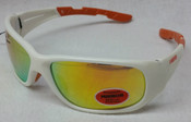 Elvex Safety Sunglasses White frame/Orange mirror
