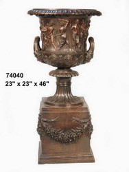 "Greco-Roman Urn on Pedestal - 46"" Design"