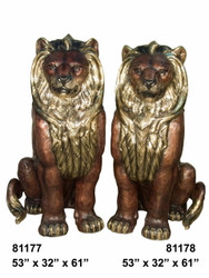 "Pair of Sitting Lions - Left and Right - 61"" Design"