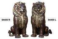 "Pair of Sitting Lions - Left and Right - 33"" Design"