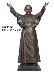 "41"" Bronze Statue of Pope John Paul 2nd - with Marble Base"