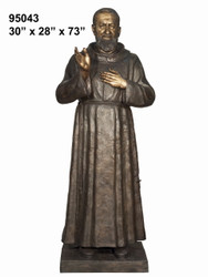 "73"" Bronze Statue of Father Pio"