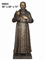 """73"""" Bronze Statue of Father Pio"""