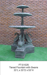 Tiered Fountain with Swans