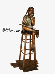 Girl Studying on a Stool - SALE! - Take an Extra 25% Off - Discount Applied at Checkout