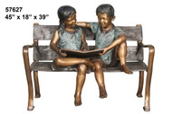 Young Boy & Girl on a Bench  SALE! - Take an Extra 25% Off - Discount Applied at Checkout