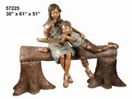Young Boy & Girl Reading on a Log Bench  - Take an Extra 25% Off - Discount Applied at Checkout