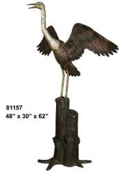 "Crane Perched on a Piling, 62"" Design - SALE! - Take an Extra 25% Off - Discount Applied at Checkout"