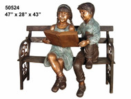 Young Boy & Girl Reading on an Antique Bench