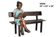 Girl Reading on Bench