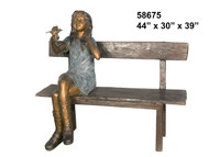 Girl Seated on a Bench with a Bird in her Hand