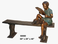 Child on a Bench Relaxing with a Book