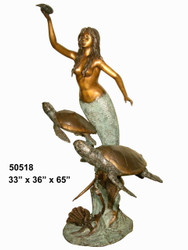 Mermaid with Sea Turtles Holding a Shell
