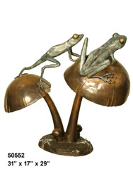 2 Frogs Balancing on Mushrooms