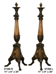 "Bronze Fireplace Andirons - 30"" Classic Design"
