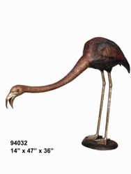 Flamingo Looking Down- Bronze Patina