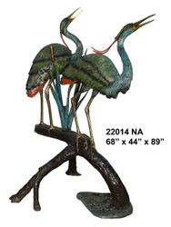 Herons on Branch, Large - Special Patina, Style NA