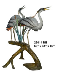 Herons on Branch, Large - Special Patina, Style NB