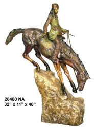 Western Rider Climbing off a Ledge - with Marble Base (not shown) - Special Patina, Style NA