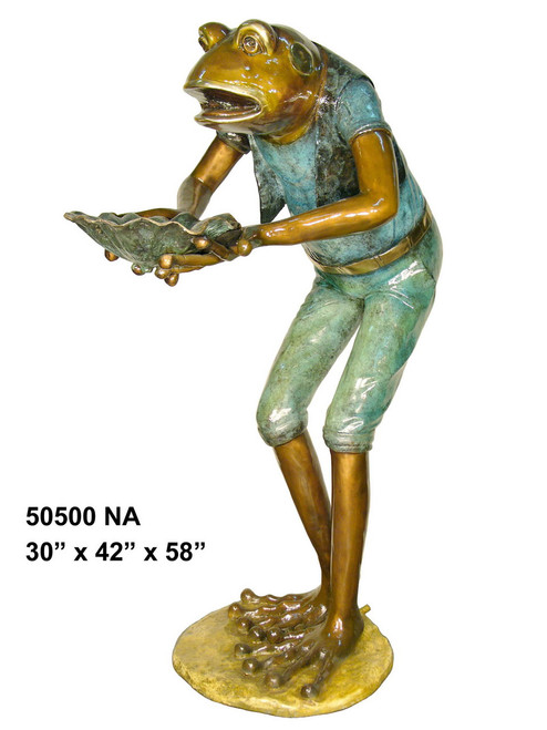 Frog Holding a Lotus Leaf - Special Patina, Style NA