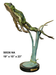 Frog Swimming Up with Marble Base - Special Patina, Style NA