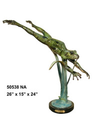 Frog Swimming Down with Marble Base - Special Patina, Style NA