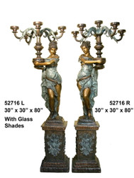 "80"" Lamps with Maidens on Pedestals, Left & Right Pair - Shades Included (not shown)"