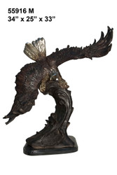 "Eagle with Wings Extended - 34"" Design - with Marble Base"